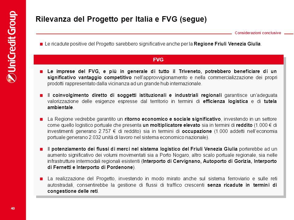 Rilevanza del Progetto per Italia e FVG (segue)