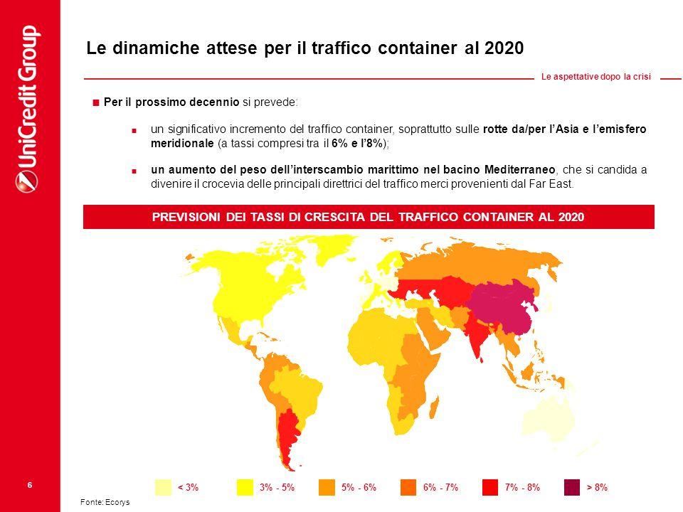 Le dinamiche attese per il traffico container al 2020