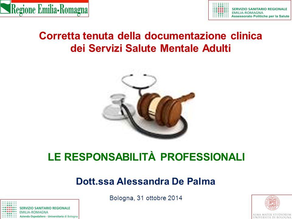 LE RESPONSABILITÀ PROFESSIONALI Dott.ssa Alessandra De Palma