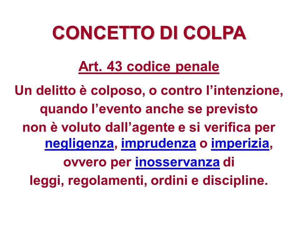 CONCETTO DI COLPA Art. 43 codice penale