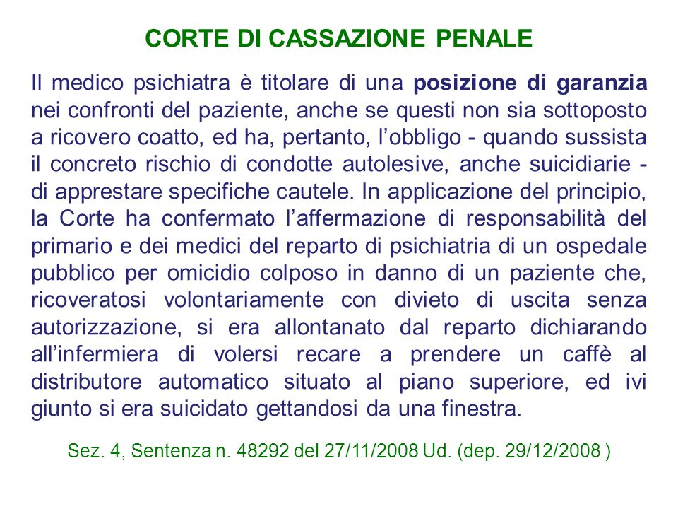CORTE DI CASSAZIONE PENALE