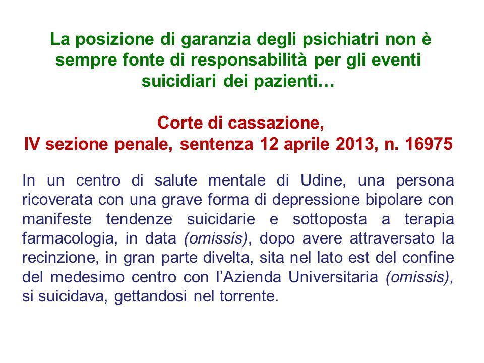 IV sezione penale, sentenza 12 aprile 2013, n. 16975
