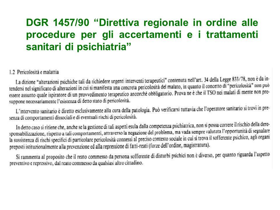 DGR 1457/90 Direttiva regionale in ordine alle procedure per gli accertamenti e i trattamenti sanitari di psichiatria