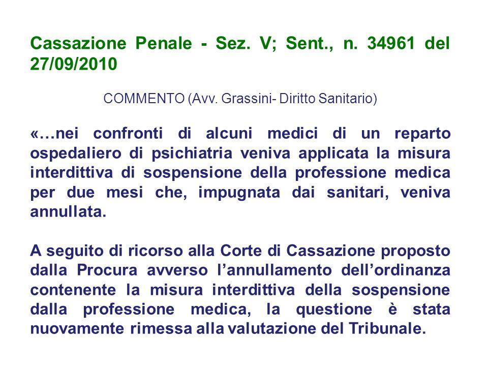 COMMENTO (Avv. Grassini- Diritto Sanitario)