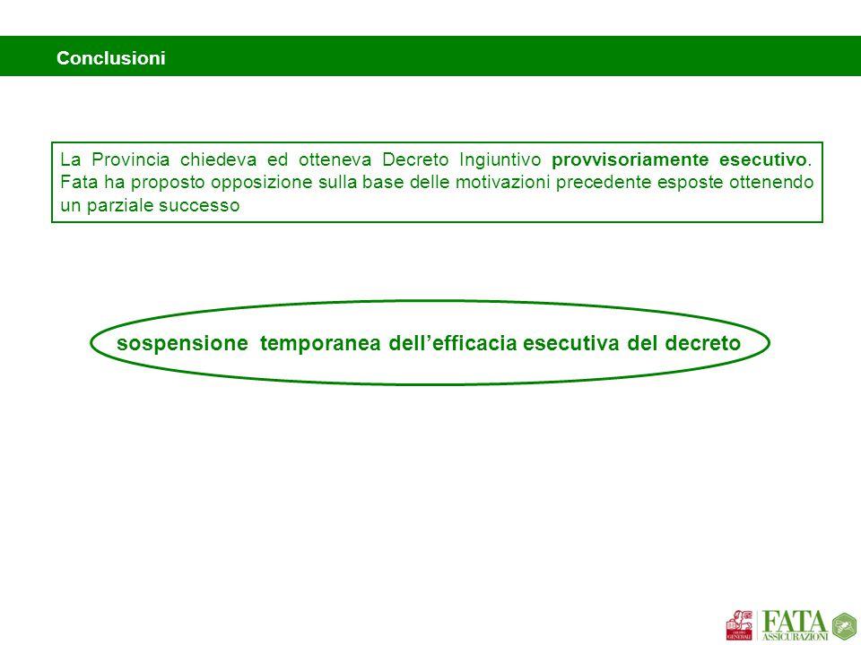 sospensione temporanea dell'efficacia esecutiva del decreto