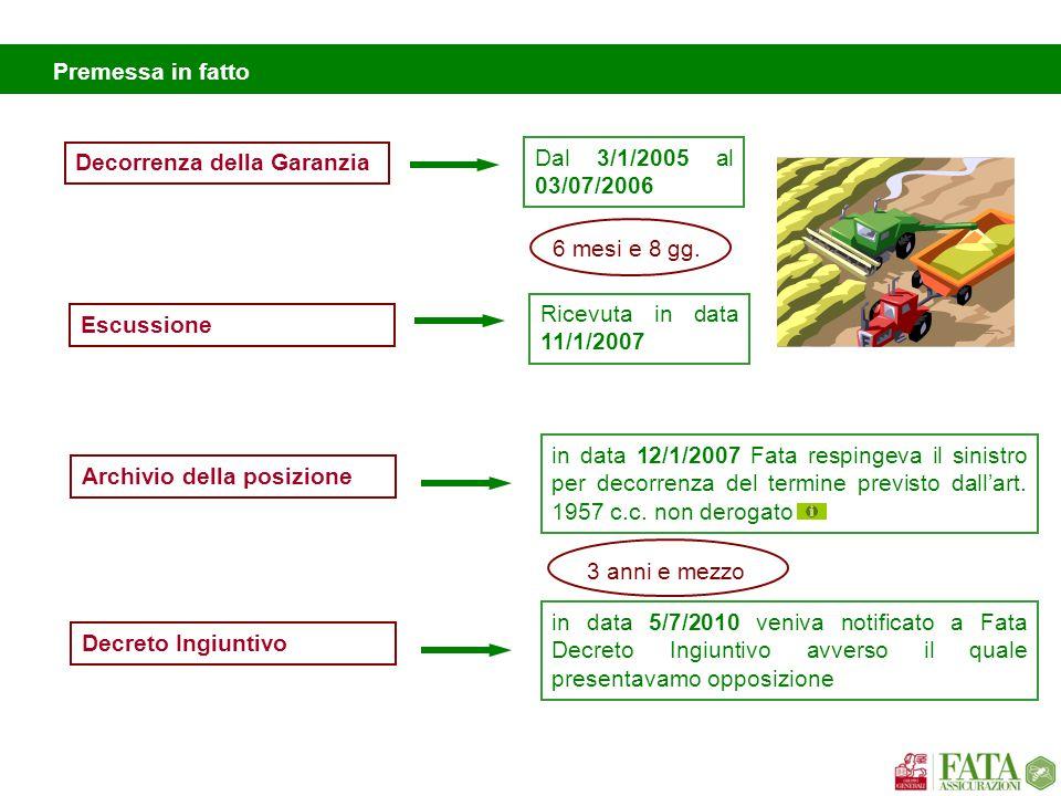 Premessa in fatto Decorrenza della Garanzia. Dal 3/1/2005 al 03/07/2006. Escussione. Ricevuta in data 11/1/2007.