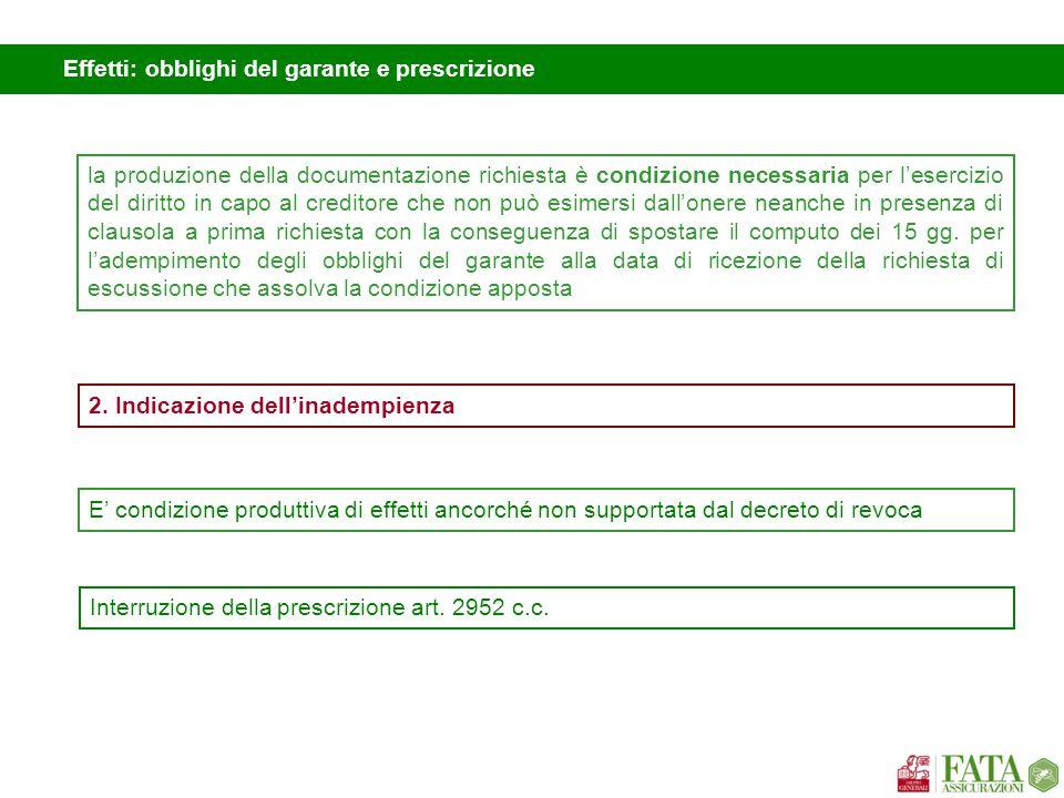 Effetti: obblighi del garante e prescrizione