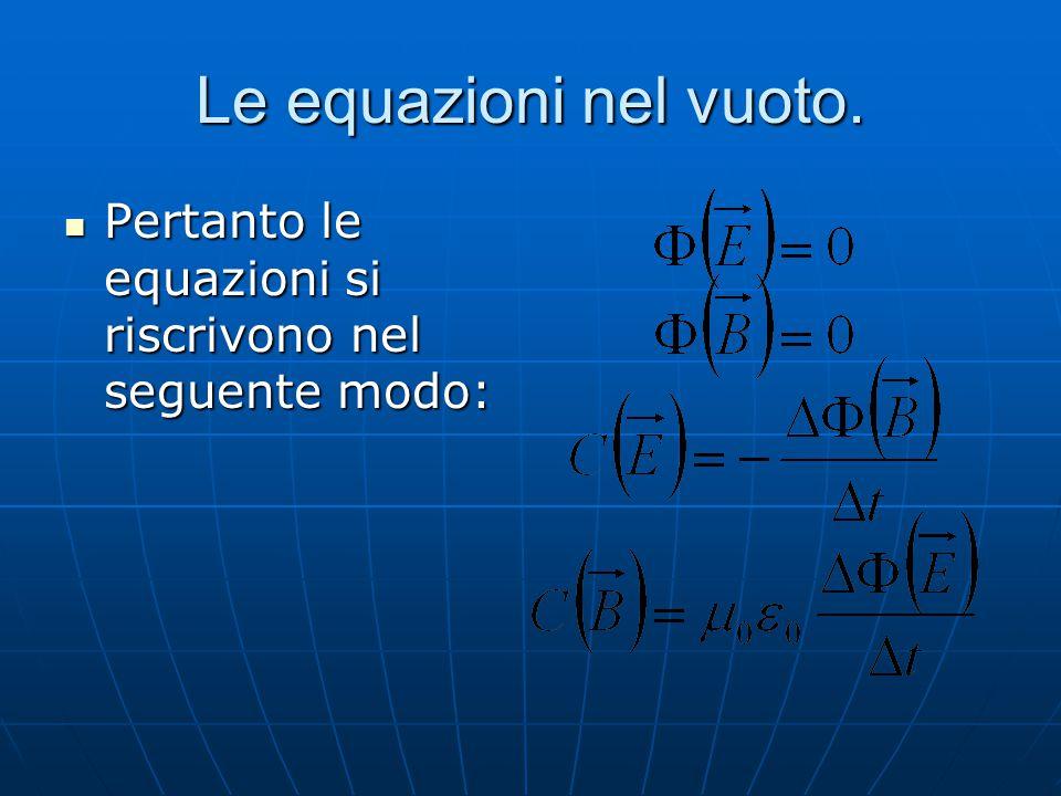 Le equazioni nel vuoto. Pertanto le equazioni si riscrivono nel seguente modo: