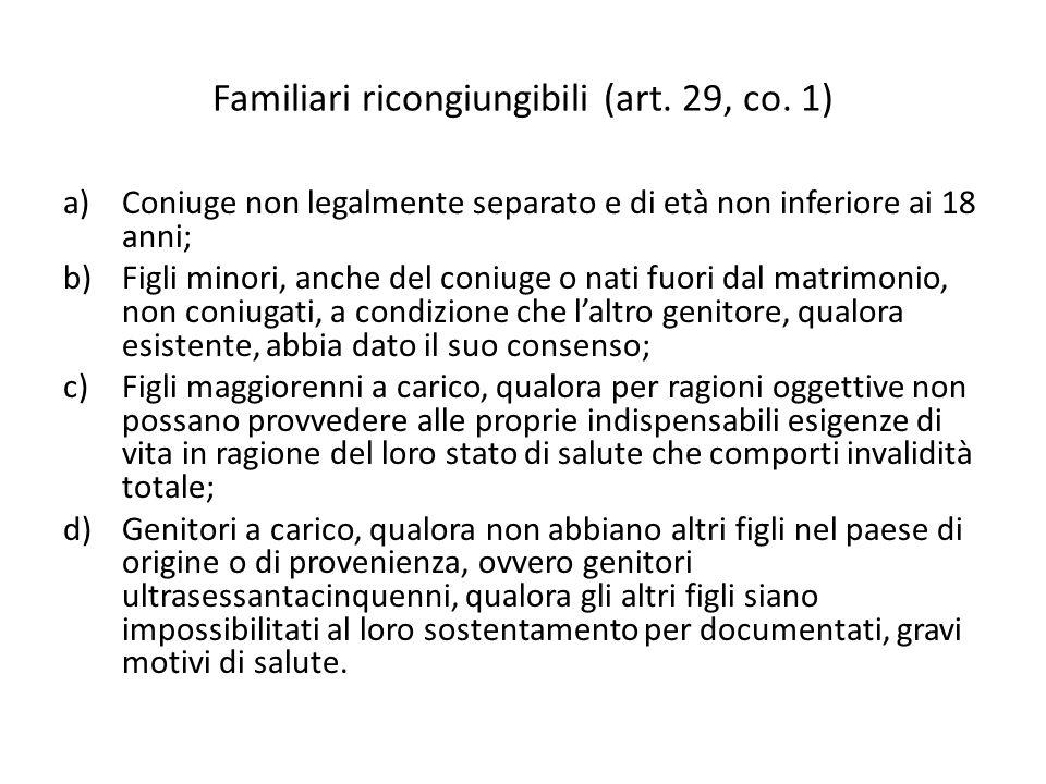 Familiari ricongiungibili (art. 29, co. 1)