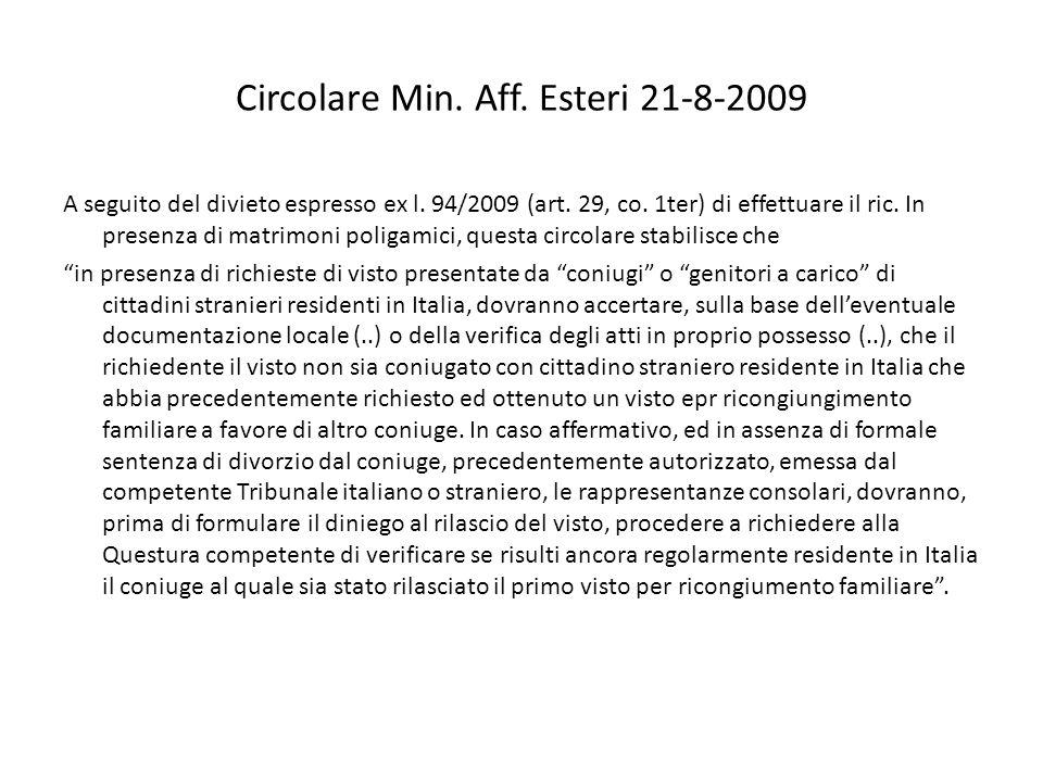 Circolare Min. Aff. Esteri 21-8-2009