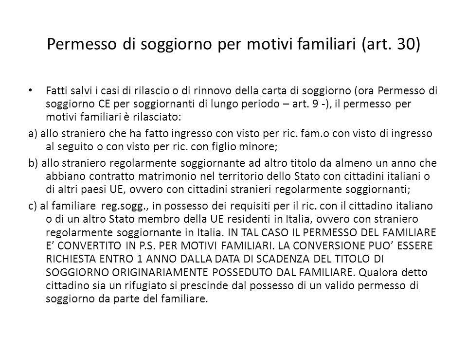 Permesso di soggiorno per motivi familiari (art. 30)