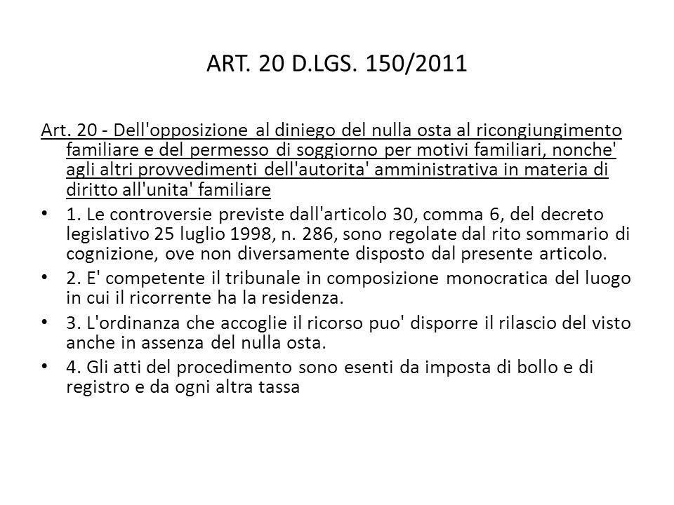ART. 20 D.LGS. 150/2011