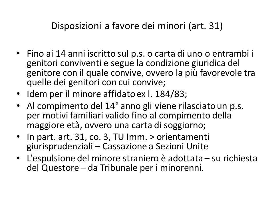 Disposizioni a favore dei minori (art. 31)
