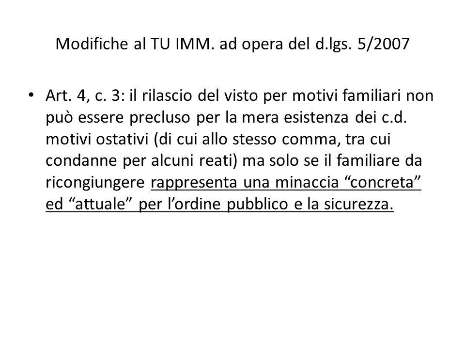 Modifiche al TU IMM. ad opera del d.lgs. 5/2007