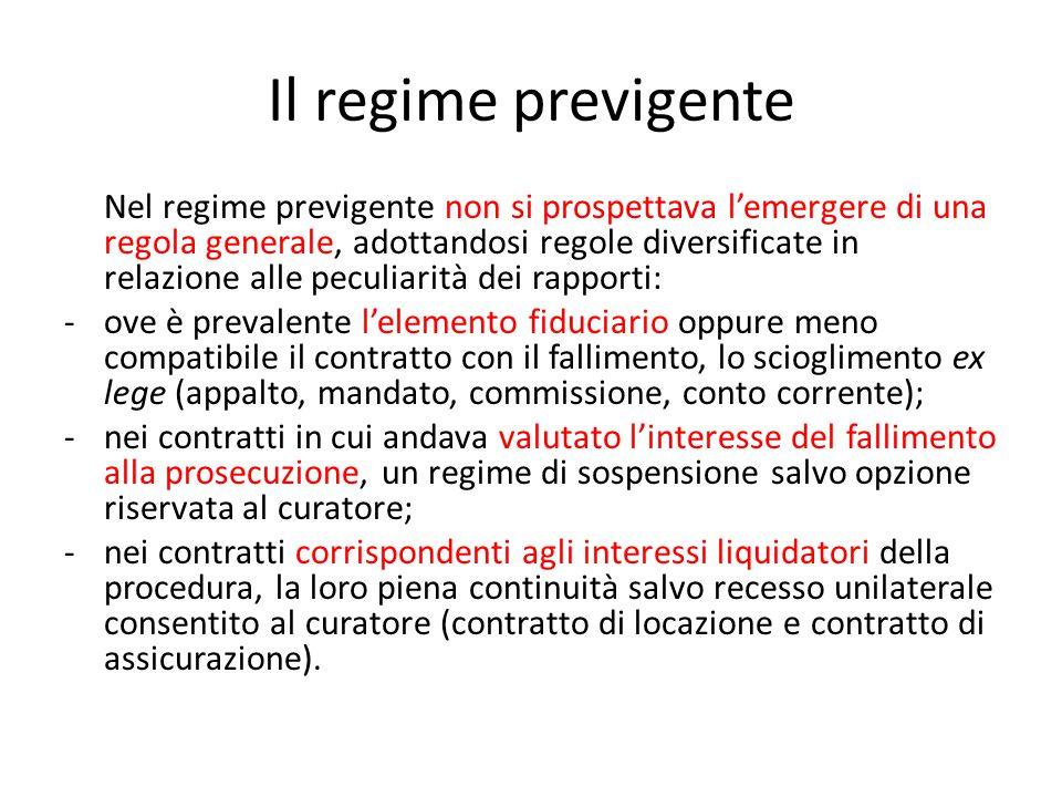 Il regime previgente