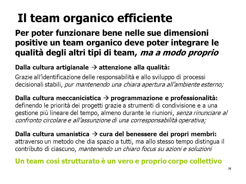 Il team organico efficiente