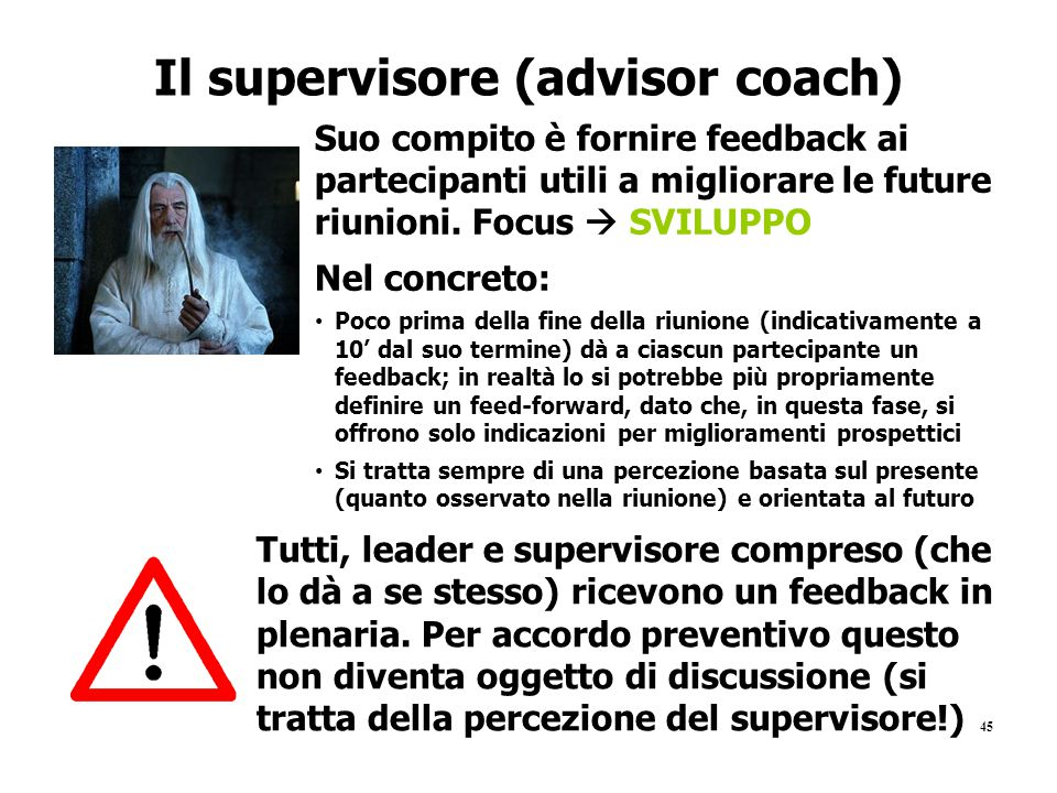 Il supervisore (advisor coach)