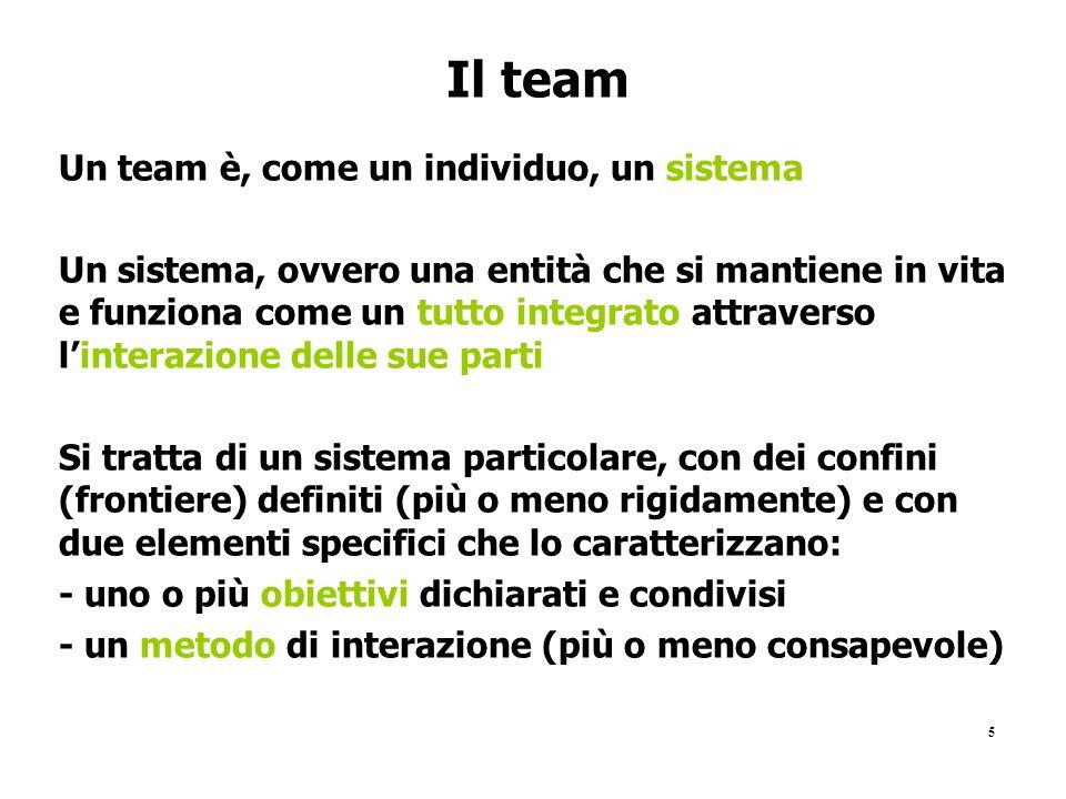 Il team Un team è, come un individuo, un sistema