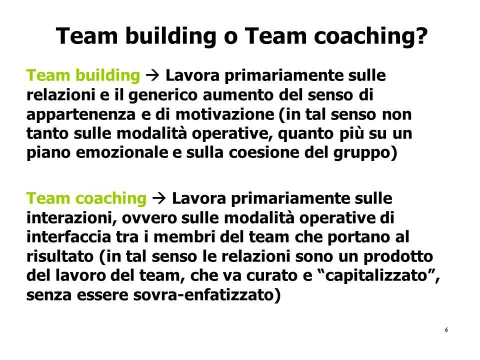 Team building o Team coaching