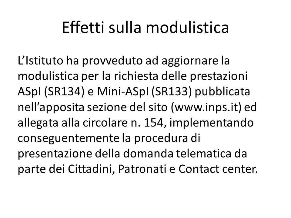 Effetti sulla modulistica