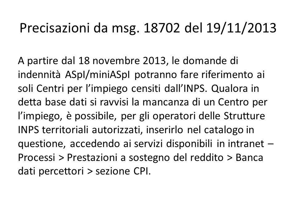 Precisazioni da msg. 18702 del 19/11/2013