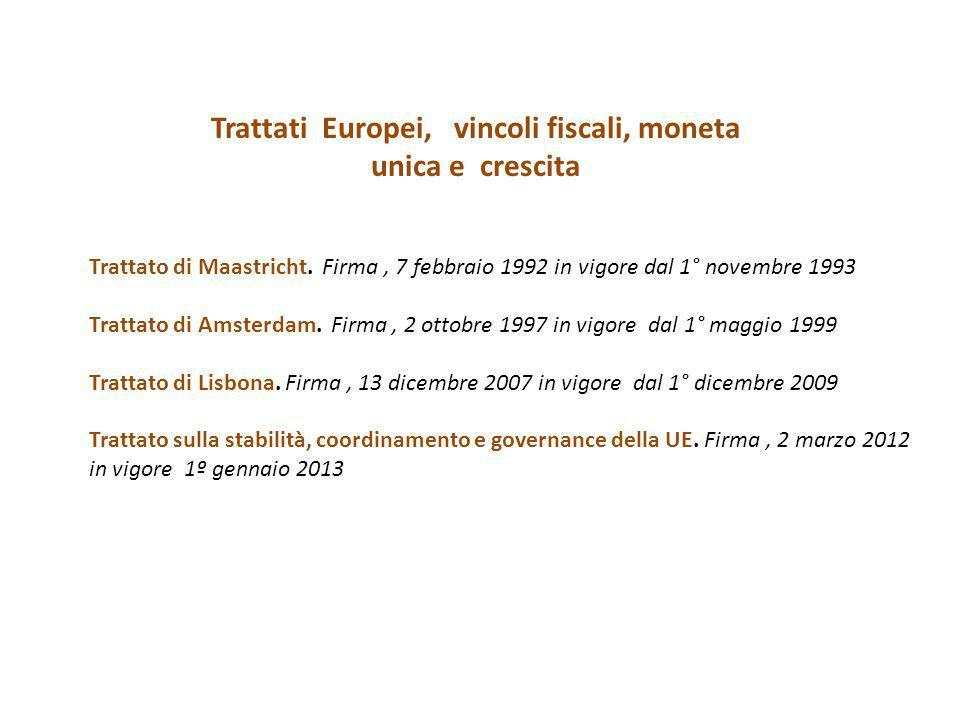 Trattati Europei, vincoli fiscali, moneta unica e crescita