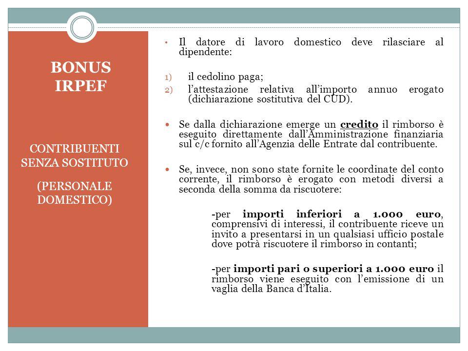 BONUS IRPEF CONTRIBUENTI SENZA SOSTITUTO (PERSONALE DOMESTICO)
