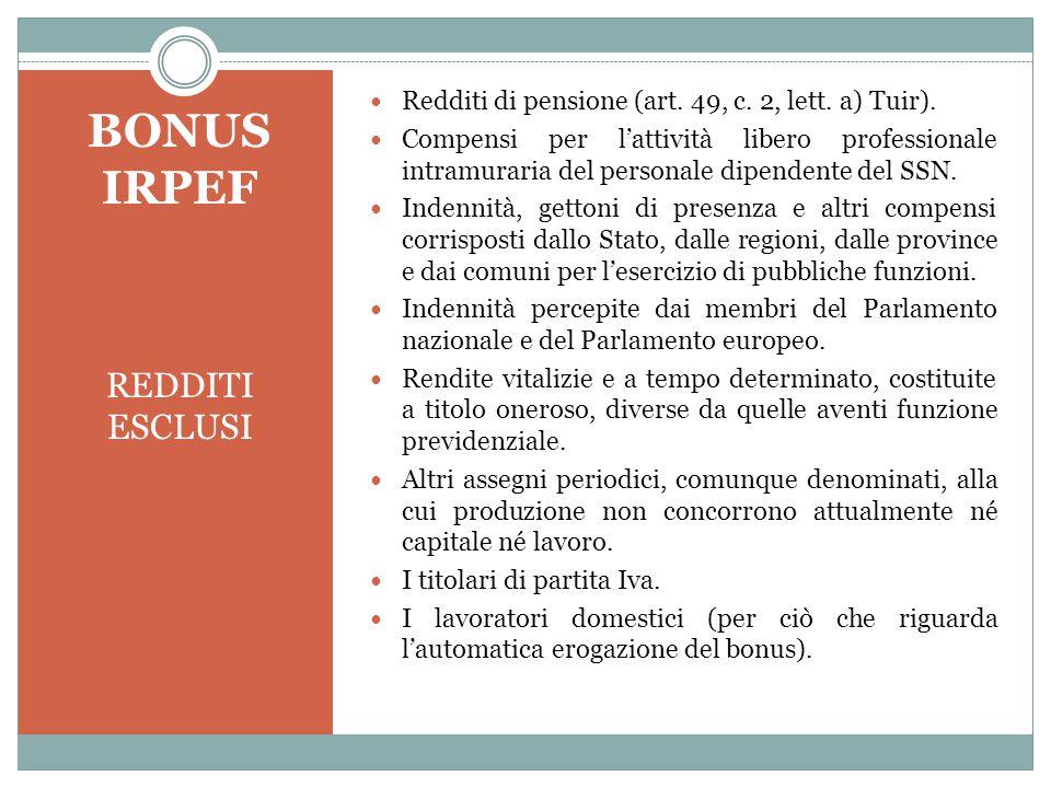 BONUS IRPEF REDDITI ESCLUSI