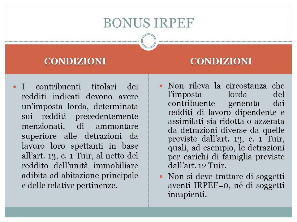 BONUS IRPEF CONDIZIONI CONDIZIONI