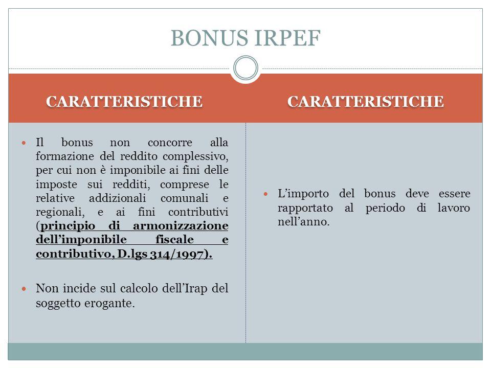 BONUS IRPEF CARATTERISTICHE CARATTERISTICHE