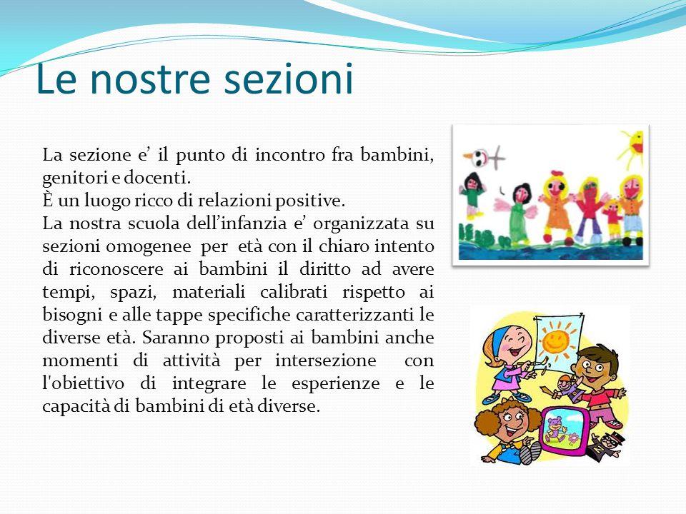 Le nostre sezioni La sezione e' il punto di incontro fra bambini, genitori e docenti. È un luogo ricco di relazioni positive.