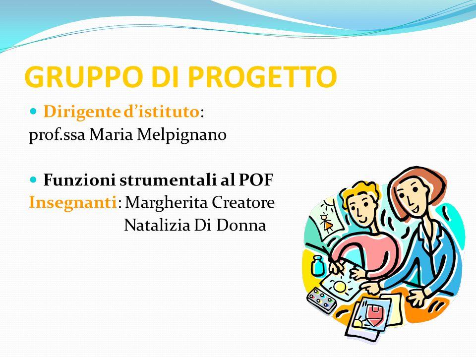 GRUPPO DI PROGETTO Dirigente d'istituto: prof.ssa Maria Melpignano