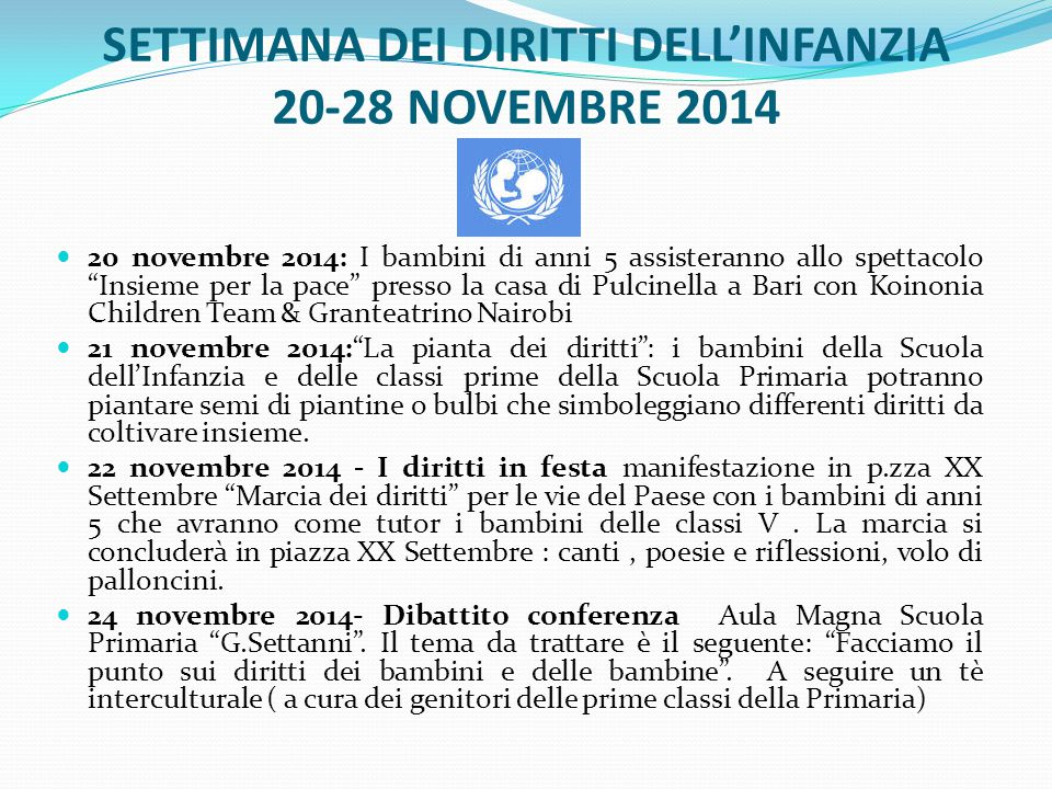 SETTIMANA DEI DIRITTI DELL'INFANZIA 20-28 NOVEMBRE 2014