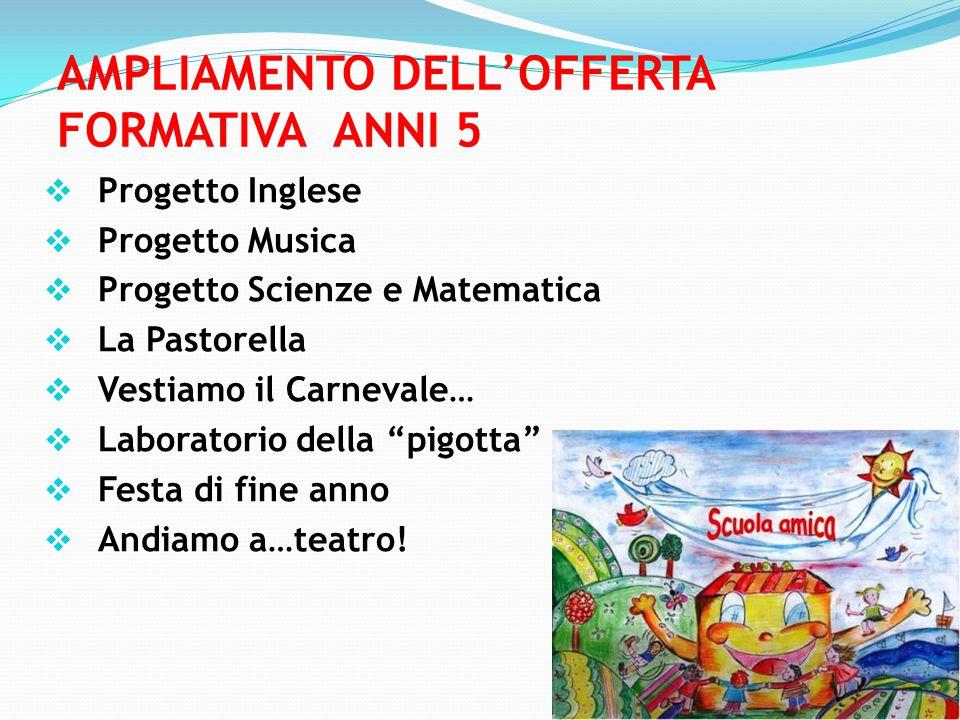 AMPLIAMENTO DELL'OFFERTA FORMATIVA ANNI 5