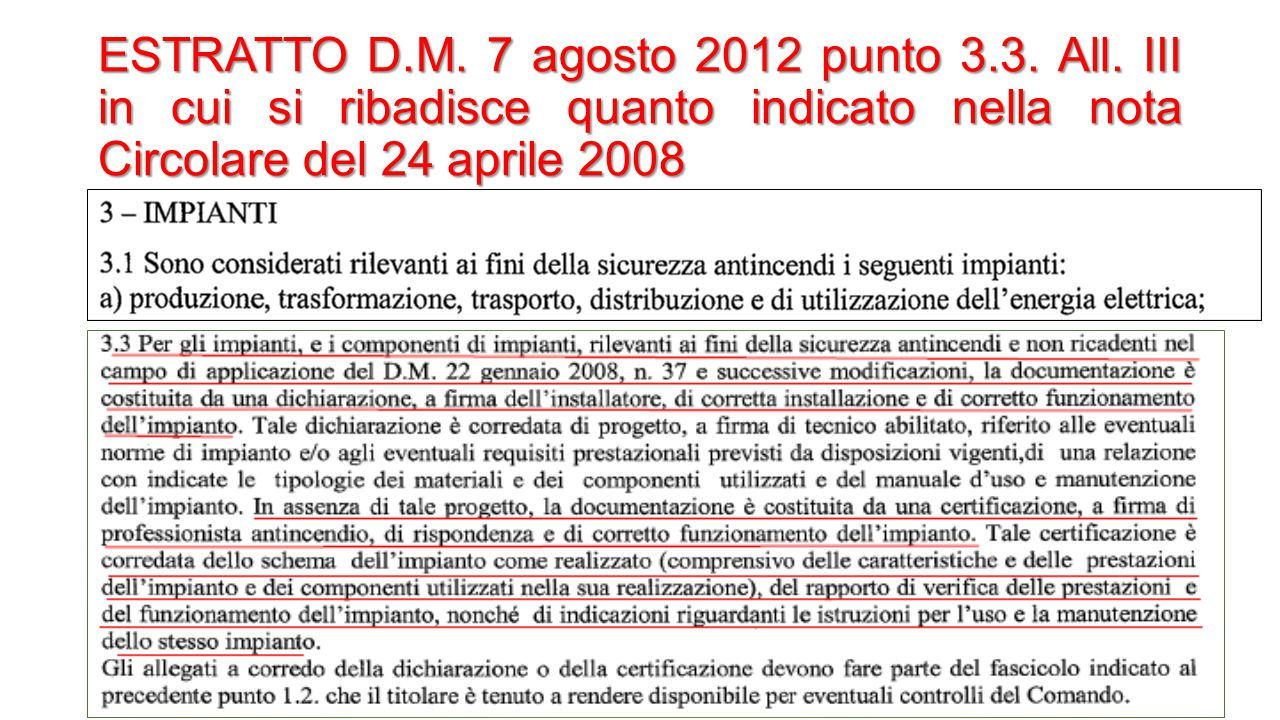 ESTRATTO D. M. 7 agosto 2012 punto 3. 3. All