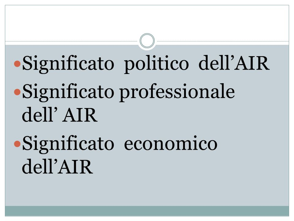 Significato politico dell'AIR