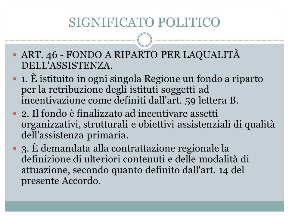 SIGNIFICATO POLITICO ART. 46 - FONDO A RIPARTO PER LAQUALITÀ DELL ASSISTENZA.