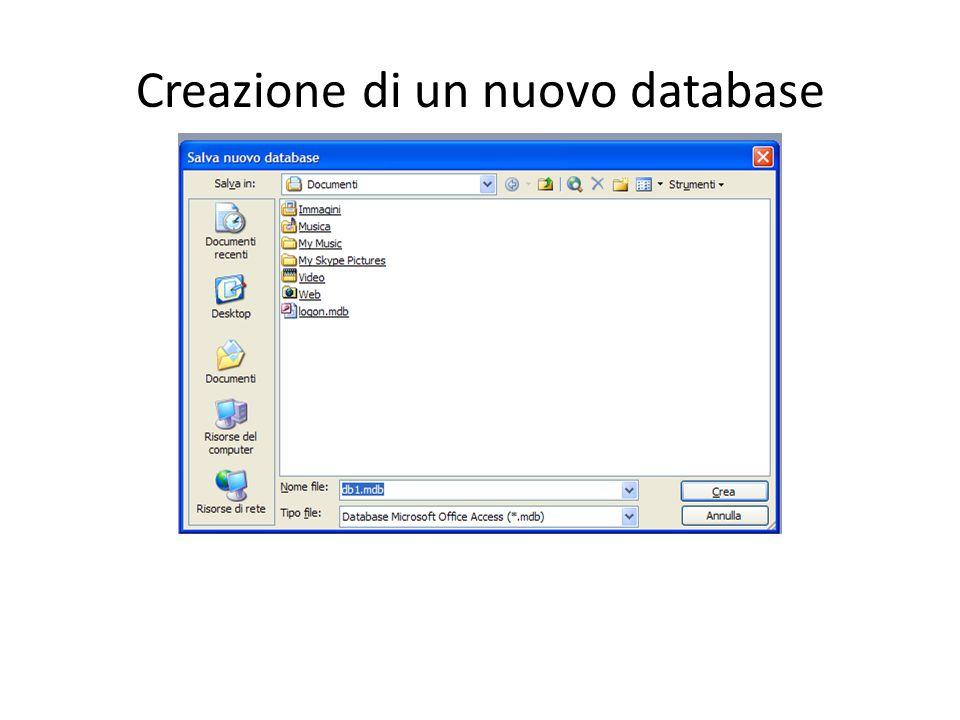 Creazione di un nuovo database