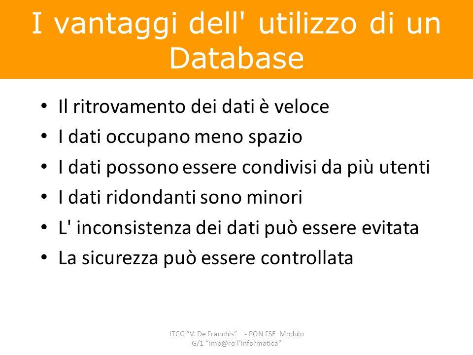 I vantaggi dell utilizzo di un Database