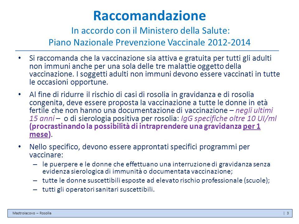 Raccomandazione In accordo con il Ministero della Salute: Piano Nazionale Prevenzione Vaccinale 2012-2014