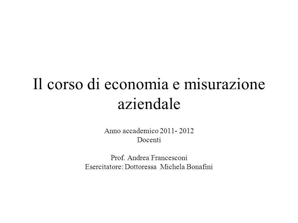 Il corso di economia e misurazione aziendale