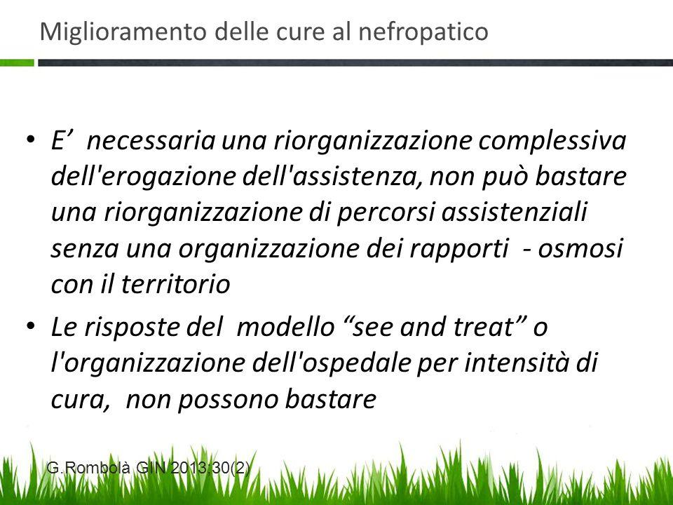 Miglioramento delle cure al nefropatico