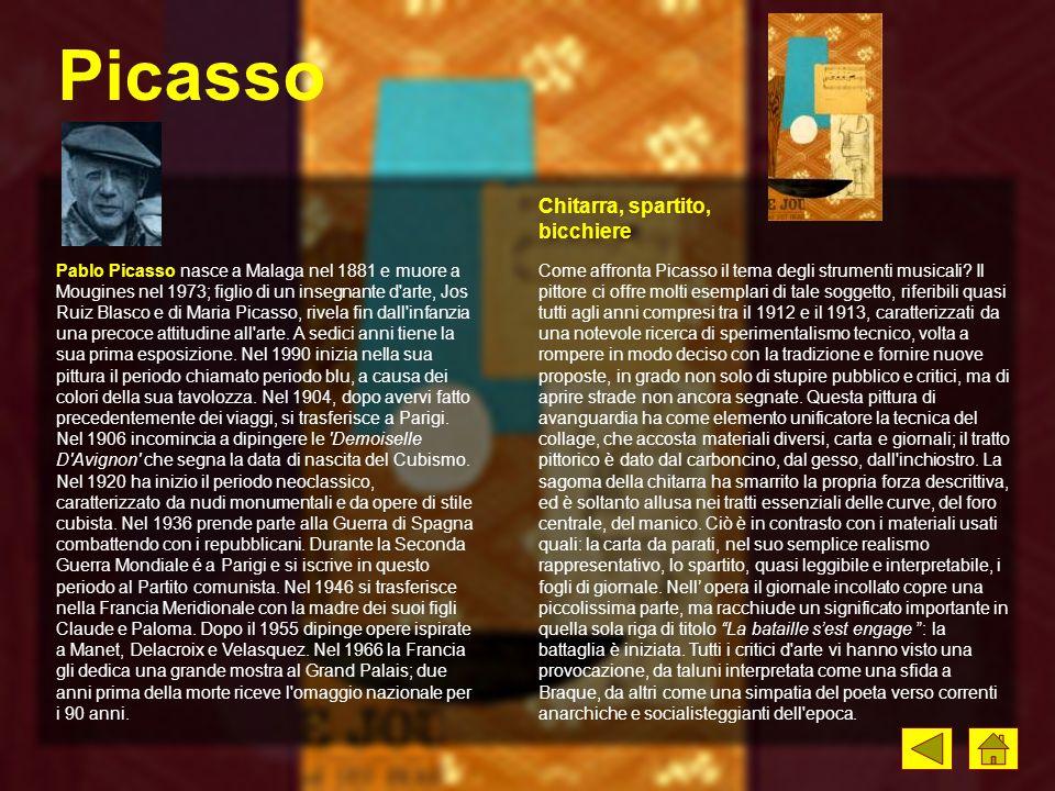 Picasso Chitarra, spartito, bicchiere