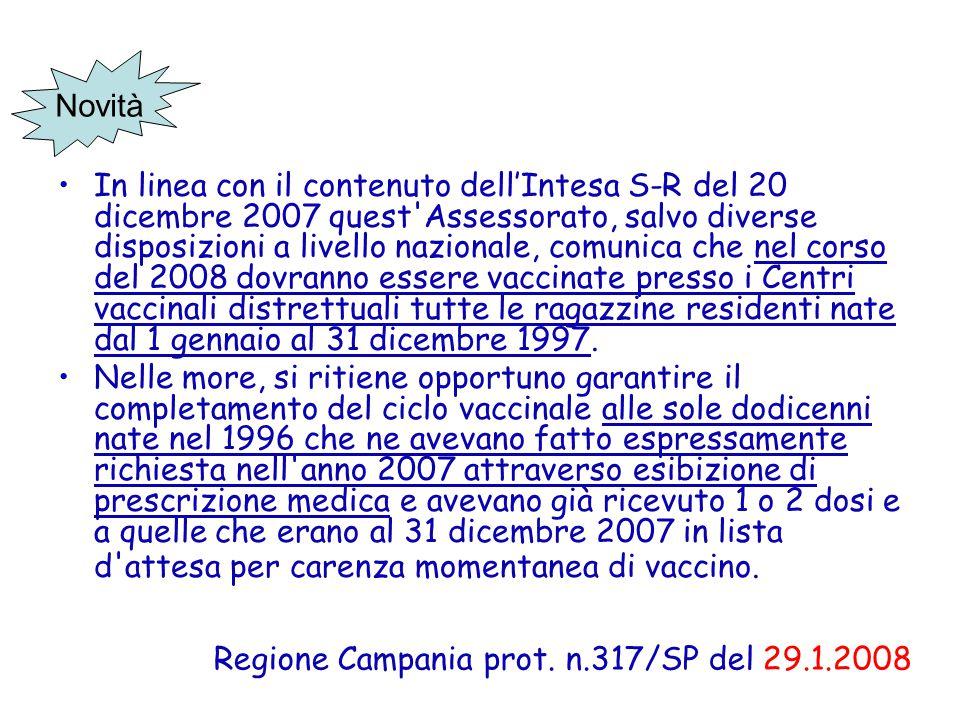 Regione Campania prot. n.317/SP del 29.1.2008