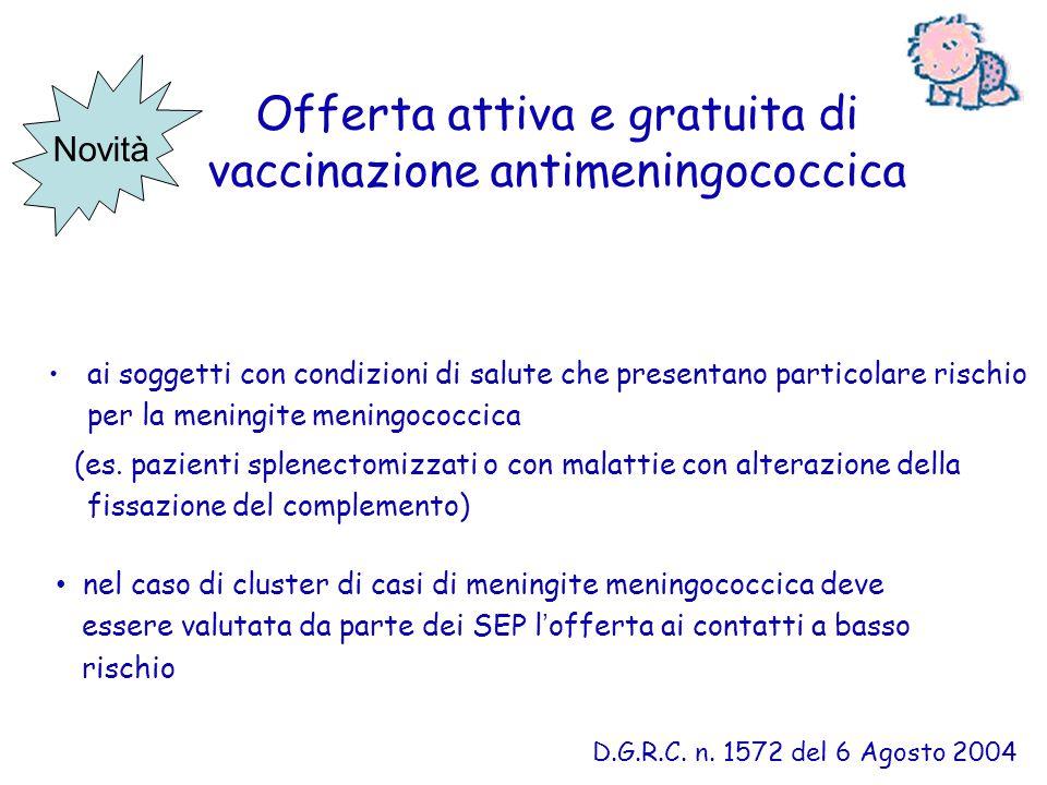 Offerta attiva e gratuita di vaccinazione antimeningococcica