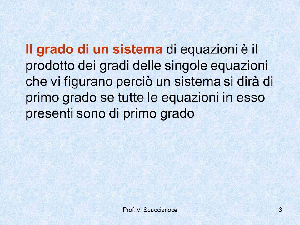 Il grado di un sistema di equazioni è il prodotto dei gradi delle singole equazioni che vi figurano perciò un sistema si dirà di primo grado se tutte le equazioni in esso presenti sono di primo grado