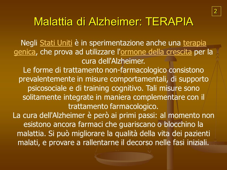 Malattia di Alzheimer: TERAPIA