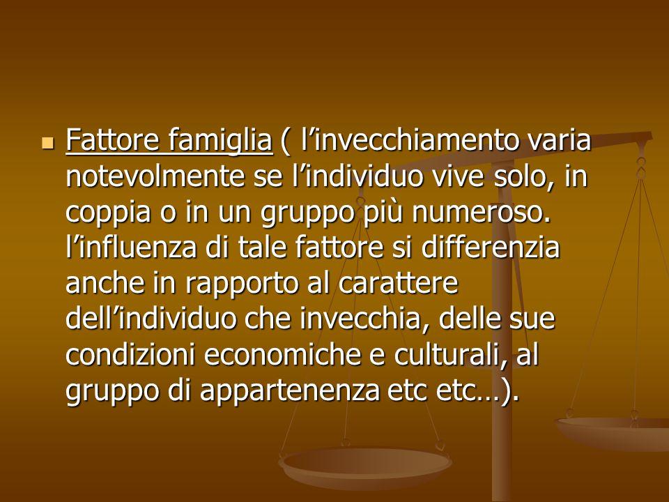 Fattore famiglia ( l'invecchiamento varia notevolmente se l'individuo vive solo, in coppia o in un gruppo più numeroso.