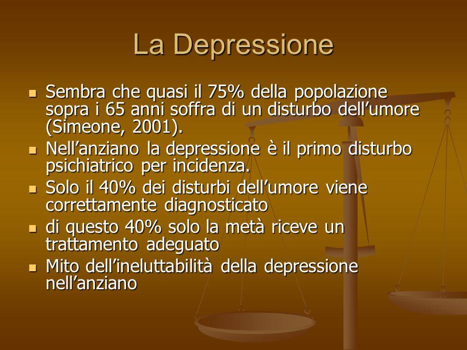 La Depressione Sembra che quasi il 75% della popolazione sopra i 65 anni soffra di un disturbo dell'umore (Simeone, 2001).
