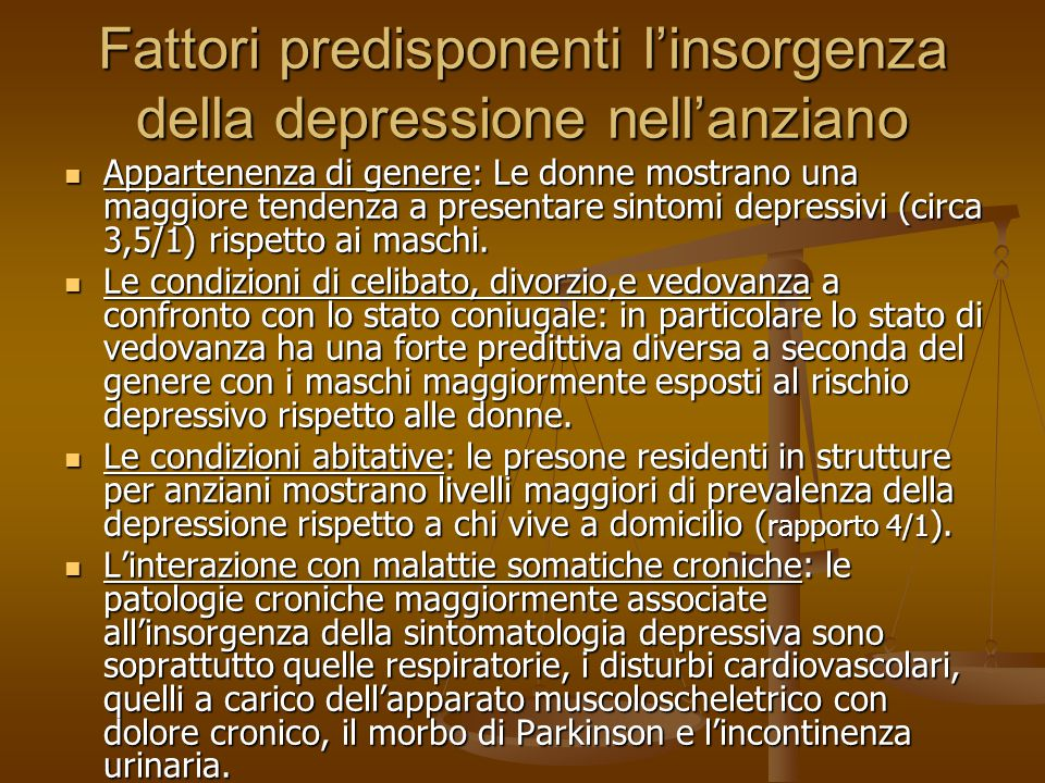 Fattori predisponenti l'insorgenza della depressione nell'anziano